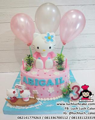 Birthday Cake Hello Kitty Fondant and Buttercream