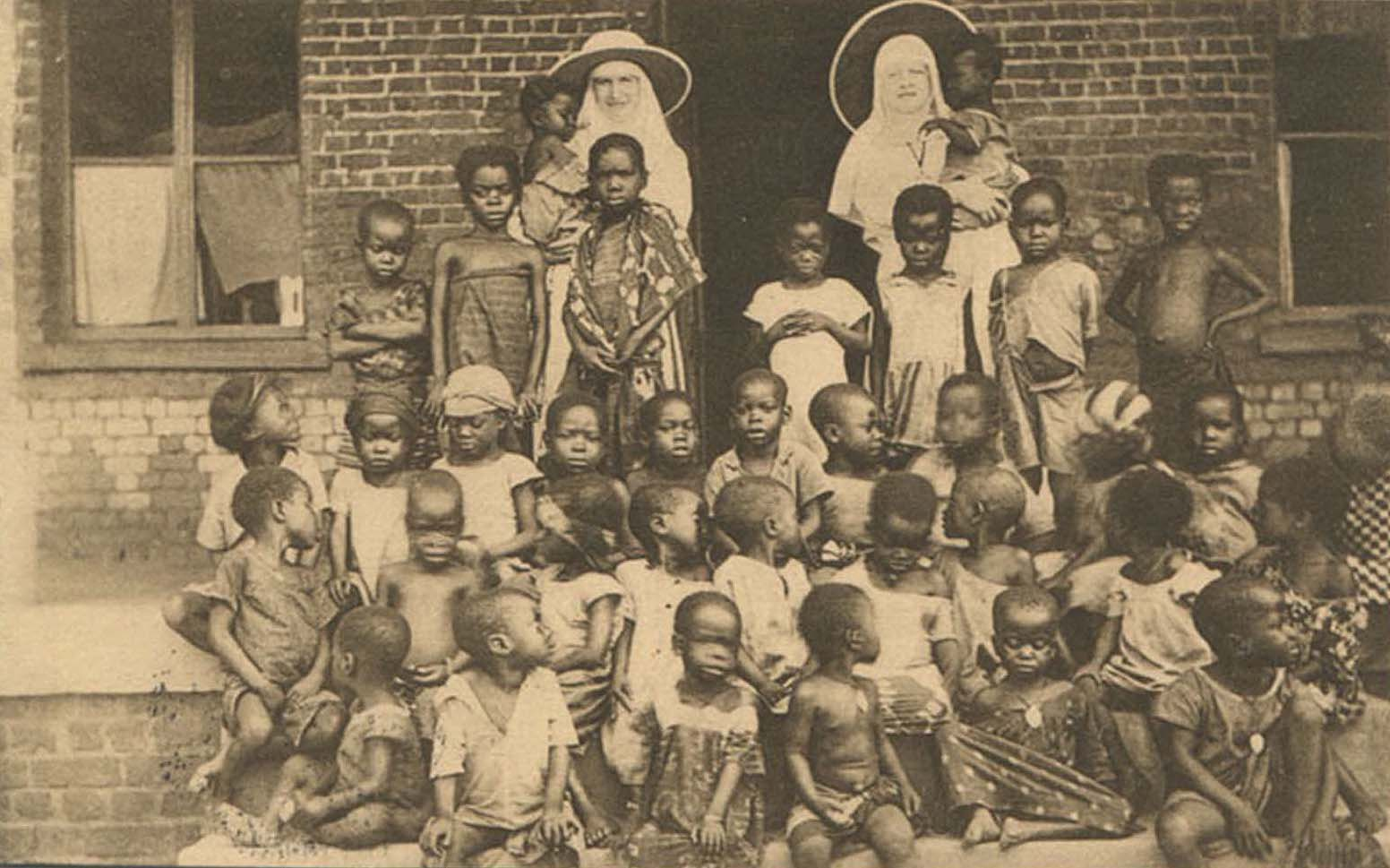 Belgian postcard of a missionary orphanage in Congo.