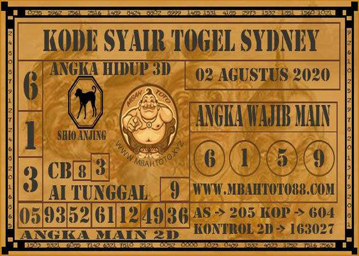 Kode syair Sydney Minggu 2 Agustus 2020 157