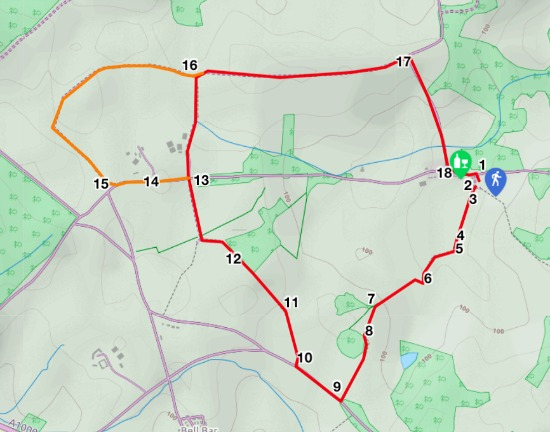 Map for walk 6, The Wildhill Loop, created by David Brewer, map elements copyright MapHub and Thunderforest