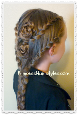 Double lace braid roses hairstyle. Video instructions.