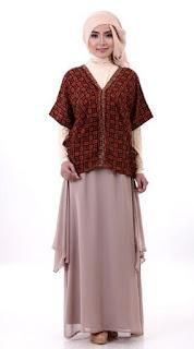Model baju batik muslim modern kombinasi