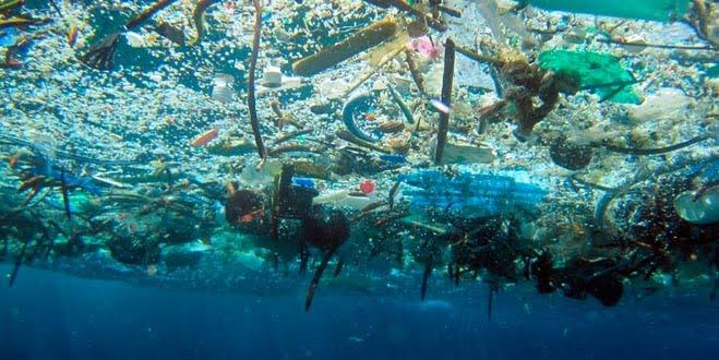 Gli oceani inquinati dai rifiuti plastici.
