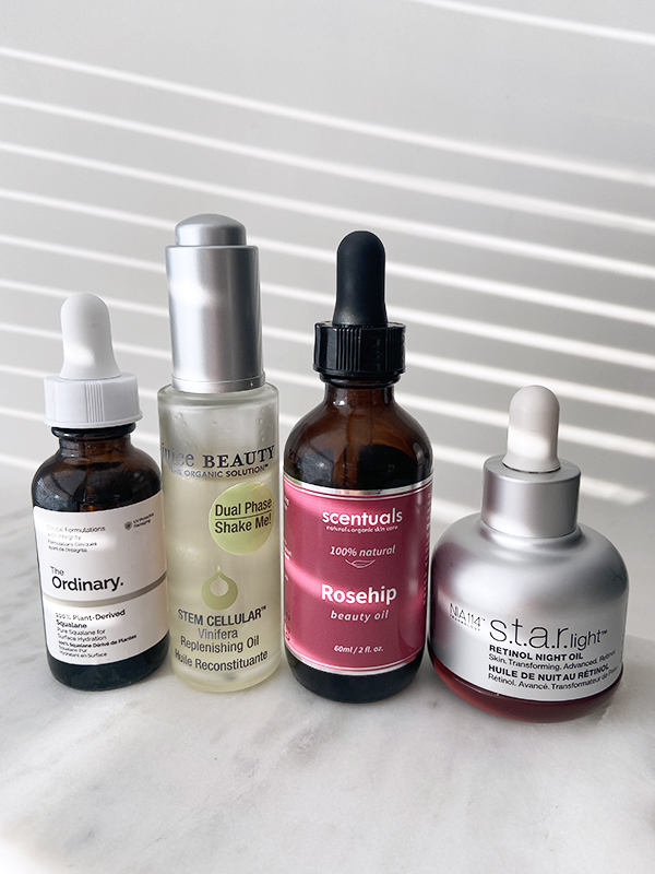 Face oils from Scentuals, Juice Beauty, StriVectin, The Ordinary