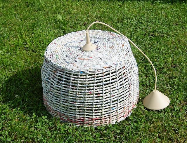 lampa z gazet, abażur z papierowej wikliny