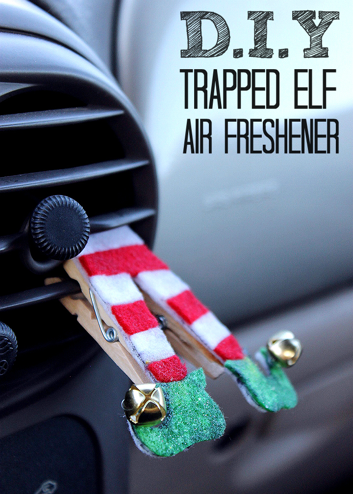 This DIY Trapped Air Vent Elf Air Freshener is easy to make with a hot glue gun, some felt, and your favorite essential oil (we suggest peppermint)! Check out the tutorial! #FallForPennzoil AD