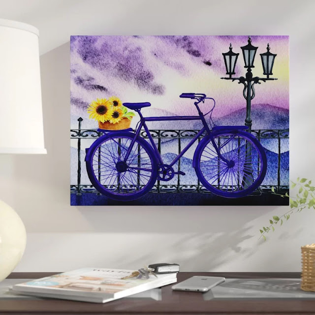 Blue Bicycle With Sunflower Basket painting by Irina Sztukowski