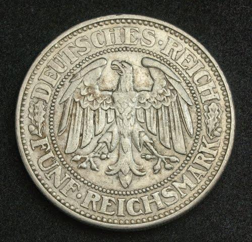 German Coins 5 Reichsmark Silver Coin Oak Tree  Weimar
