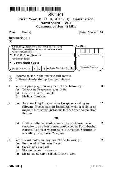 VNSUG, SB-1401 Communication Skills 2011 Question Paper