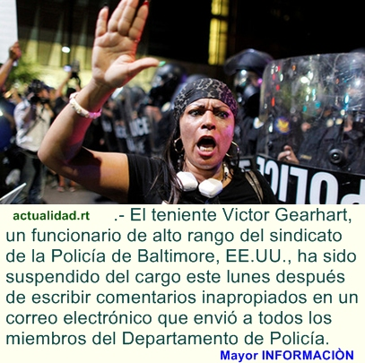 Suspenden a un alto funcionario policial de Baltimore por llamar 'matones' a los protestantes