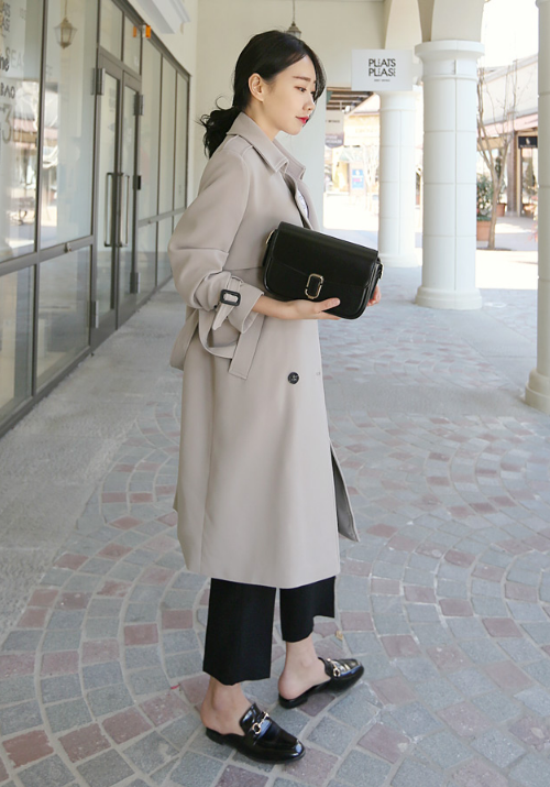 Classic Flap Detailed Double Breasted Trench Coat