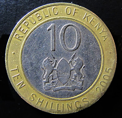 Obverse of 2005 Kenya 10 Shillings, date, denomination, arms