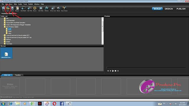 mở file intro có sẵn trên proshow producer