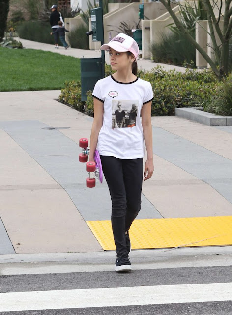 Jenna Ortega out on her skateboard