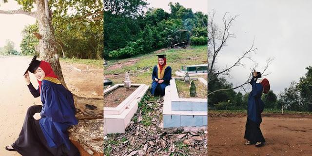 Dibalik Foto Wanita Memakai Toga Dikuburan ini Ternyata Menyimpan Kisah yang Haru