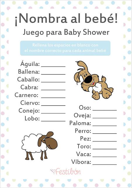 juegos para baby shower para imprimir nombra al bebé