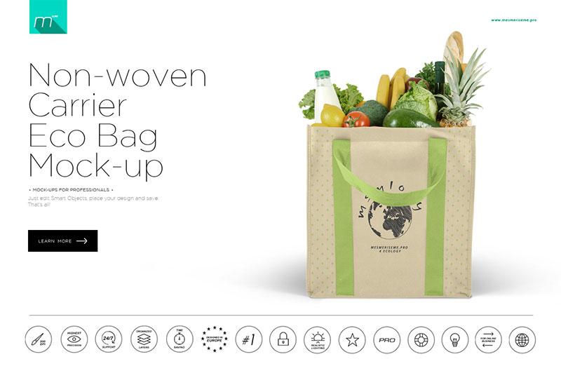 Non-woven Carrier Eco Bag Mock-up