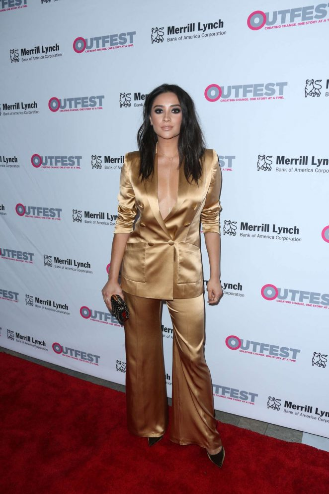 Shay Mitchell goes braless in low-cut blazer at the 2016 Outfest Legacy Awards in LA
