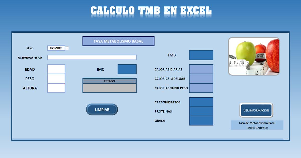 Planilla calcular Tasa Metabolismo Basal -TMB - Excel
