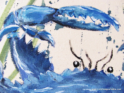 blue crab painting on fabric chair makeover