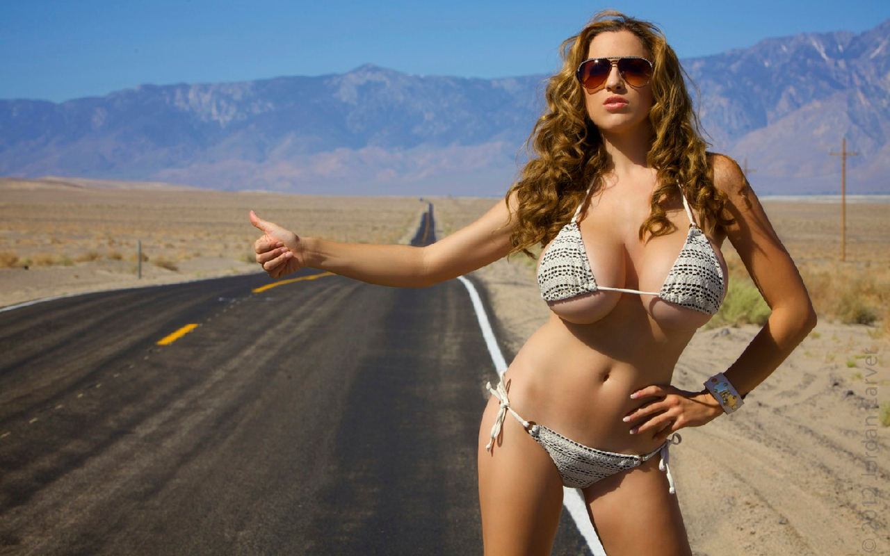 Teen hitch hiking smoking and flashing cars 10