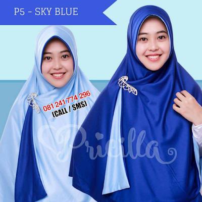 JILBAB Bolak Balik Atau Timbal Balik Original P5 - SKY BLUE