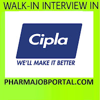Cipla Ltd Walk In Interview For Multiple Positions Quality Assurance, Quality Control, Production, Packing at 2 December