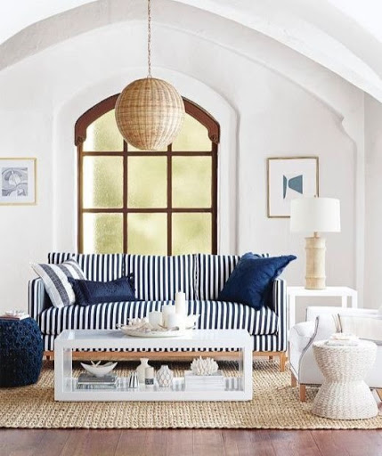 Navy Blue Stripe Sofa Idea for Nautical Living Room Decor