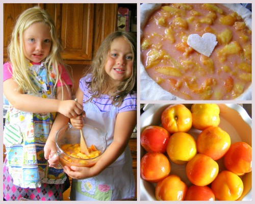 Pie bakers Morgan and Rian baking a peach pie filled with love, a collage ♥ KitchenParade.com