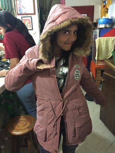 Blusa Parka Frio Inverno Feminina Lã Forrada Capuz Militar