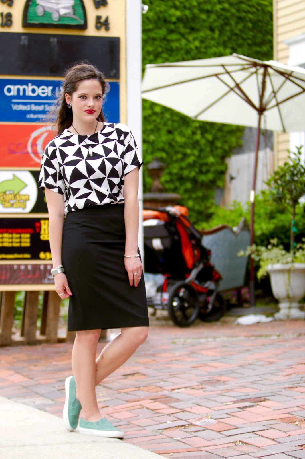 pencil skirt printed tee sneakers