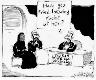 Funny Taliban marriage counseling cartoon image - Have you tried throwing rocks at her?