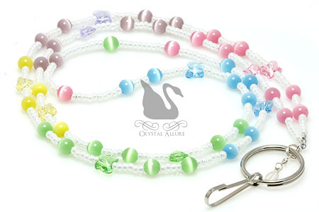 White Pearl Cats Eye Pastel Crystal Butterfly Beaded Lanyard (L106)