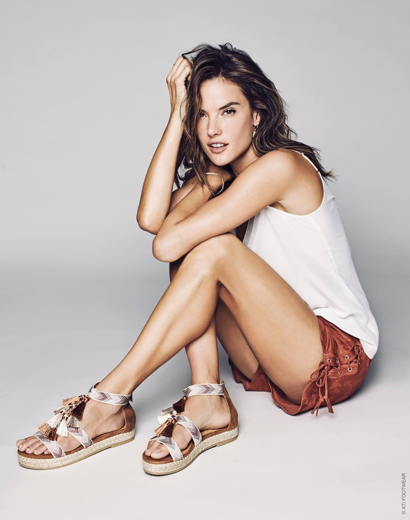 Alessandra Ambrosio wears tasseled sandals in XTI Shoes' spring 2017 campaign