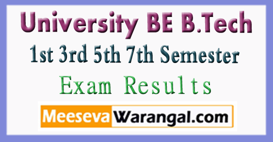 University BE B.Tech 1st 3rd 5th 7th Semester Exam Results 2017-18