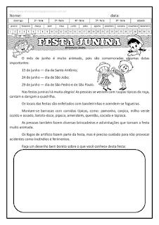 interpretação de texto-festa junina-produção de texto