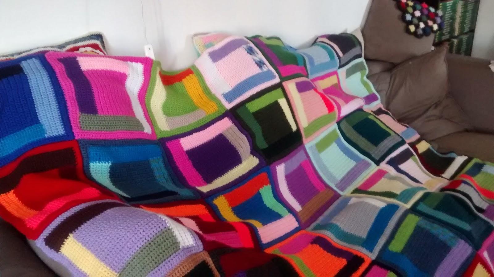 crochet log cabin blanket