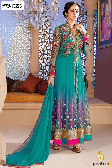 Green Color Party Wear Salwar Suits For EID 2016
