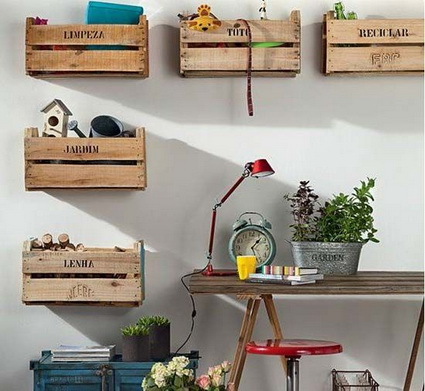 Decorate with old wooden crate boxes 1