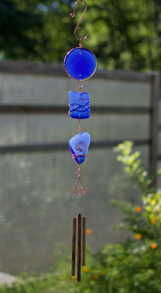 Coast Chimes cobalt blue glass and copper wind chime with handmade brass chimes