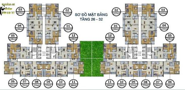 mặt bằng tầng 26-32 chung cư goldsilk