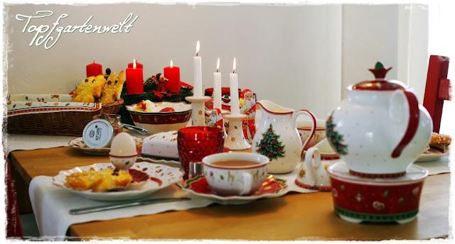 Gartenblog Topfgartenwelt Frühstückstisch: Villeroy-Boch Weihnachtsgeschirr und Semmelkrampusse