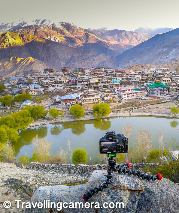 Here is a little closer view of Nako lake in Spiti valley in front of the Nako Village with different kinds of houses with varied architectural styles. Above photograph shows a friend's camera setup to click time-lapse and I am yet to see the final results after 1.5 years of this trip but still waiting. If I can write about the trip after 1.5 years, I can certainly expect the time-lapse to come out in next few months :).