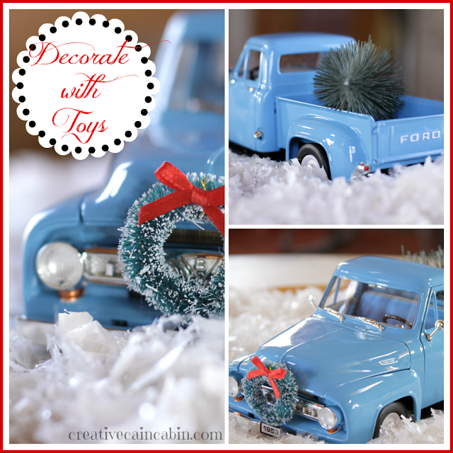 Toy inspired Christmas decor, by Creative Cain Cabin, featured on Funky Junk Interiors