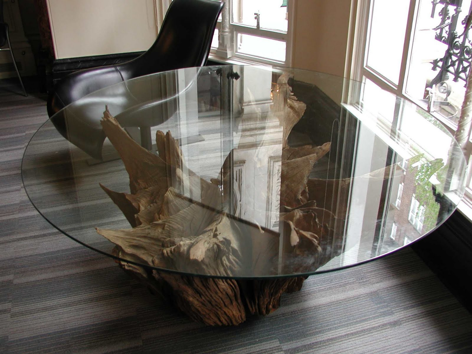 Deballage Designs Tree Root Table With A Glass Top