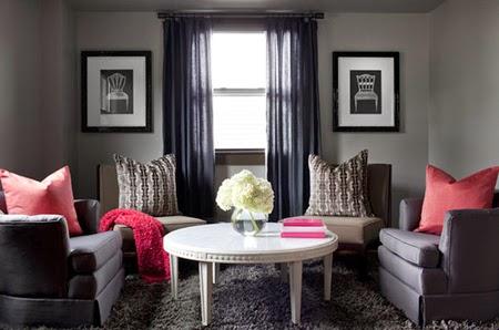sala decorada paredes grises