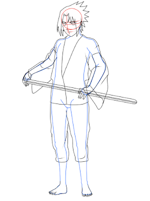cara menggambar Sasuke Hebi tahap 15