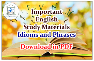 Important English Study Materials on Idioms and Phrases for IBPS PO 2016 - Download in PDF