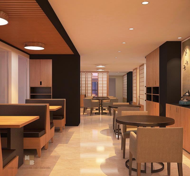 Thiết kế nhà hàng Nhật với gam màu trầm sang trọng