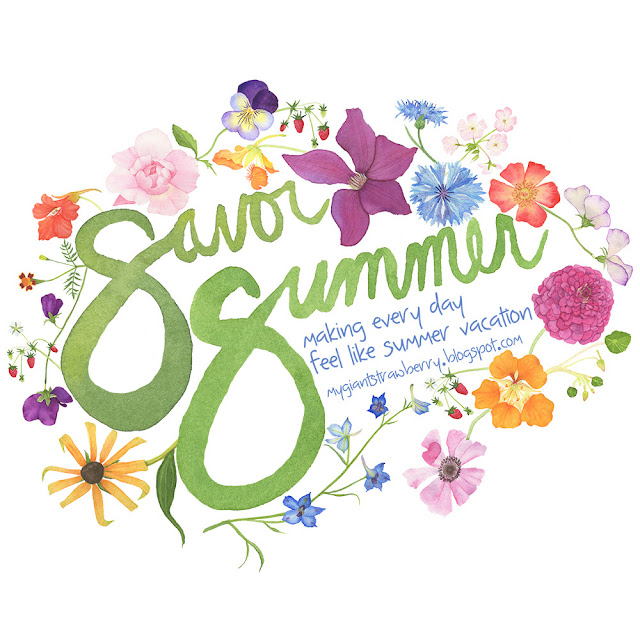 savor summer, #ssjuly2015, watercolor logo, Anne Butera, My Giant Strawberry